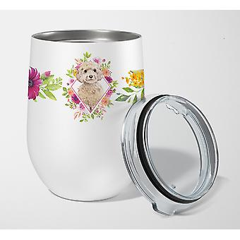 Champagne Cockapoo Pink Flowers Stainless Steel 12 oz Stemless Wine Glass