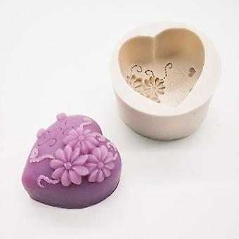 3D Silicone Heart Love Rose Flower Chocolate Soap Mould