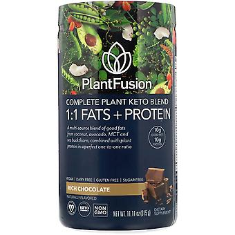PlantFusion, Complete Plant Keto Blend, 1:1 Fats + Protein, Rich Chocolate, 11.1