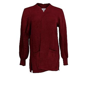 AnyBody Women's Sweater Knit Open-Front Cardigan Red A373430