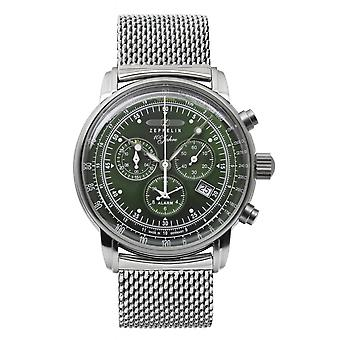 Zeppelin 8680M-4 100 Years Green Dial Chronograph Wristwatch