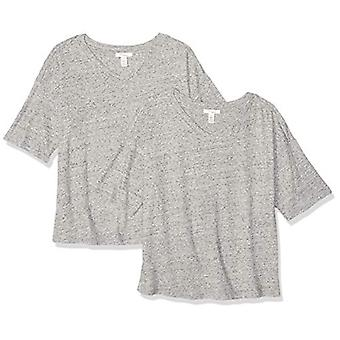 Brand - Daily Ritual Women's Washed Cotton 1/2-Sleeve V-Neck T-Shirt, ...