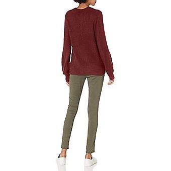 Marque - Daily Ritual Women's Mid-Gauge Stretch Balloon Sleeve Crewneck Pullover Sweater, Burgundy, X-Small