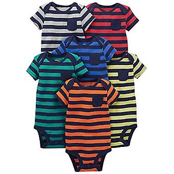 Simple Joys by Carter's Baby Boys' 6-Pack Short-Sleeve Bodysuit, Stripes, 6-9...