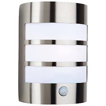 1 Light Steel Outdoor Wall Light Light, PIR Stainless Steel IP44, E27