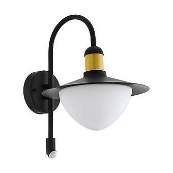 1 Light Outdoor Wall Downlight with PIR Sensor Black, Gold IP44, E27