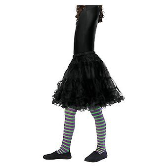 Girls Purple & Green Wicked Witch Tights Age 6-12