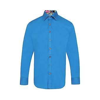Claudio Lugli Classic Plain Blue Marble Detail Shirt