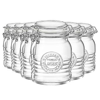 Bormioli Rocco Officina 1825 Glass Storage Jar with Airtight Clip Lid - 500ml - Pack of 6