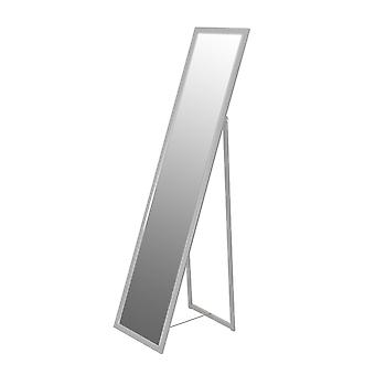 Täyspitkä suorakaiteen muotoinen vapaasti seisova peili - hopea