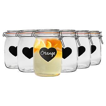 Nicola Frühling Home Konservierung Bundle - Set von 6 geprägt Herz Lebensmittel Marmelade Aufbewahrung Gläser mit Dichtungen, Tafel Etiketten - 1L
