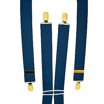 Krawatten Planet Plain Navy Blue Men's Hosenträger - Gold Clips