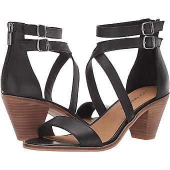 Lucky Brand Women's RESSIA Heeled Sandal, Black, 12 M US