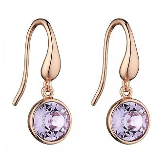 Elements Silver Rose Gold Plated Violet Swarovski Drop Earrings E5725M