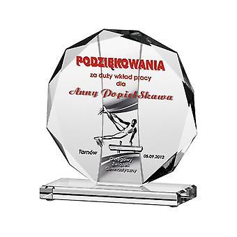 Troféu de vidro gravado + recheio de tinta