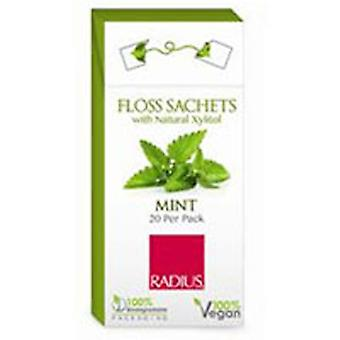 Radius Toothbrushes Floss Sachets Vegan Xylitol, Mint 20 Count