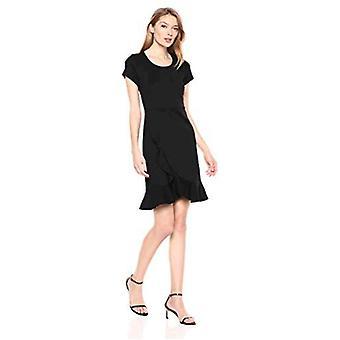 Marke - Lark & Ro Frauen's Kurzarm offenen Rundhals Rüschen Saum Ponte Shift Kleid, schwarz, 2
