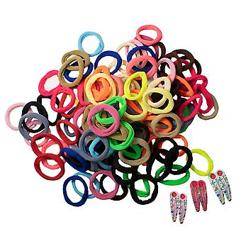 TRIXES Pack of 100 Cotton Hair Band Stretchy Ties - 6PC Colourful Snap Clips – Assorted Colours