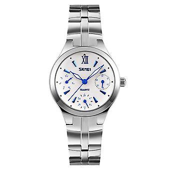 SKMEI 9132 30M Water Resistant Calendar Ladies Wrist Watch Stainless Steel Band
