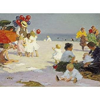 На пляже плакат печати Эдвард Генри Потхаст
