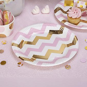 Pink White Gold Chevron Party Paper Plates x 8 / Tableware / Baby Shower