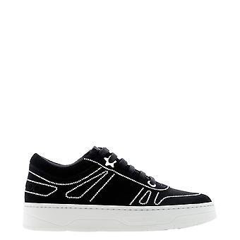 Jimmy Choo Hawaiifyxqxblackpearl Kvinder's Black Suede Sneakers