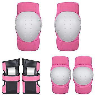 Knie-Pads Ellenbogen Pads Bracer Schutzausrüstung Set für Multi Sports rosa M Größe