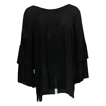 Joan Rivers Classics Collection Women's Top Pleated Sleeves Black A309574