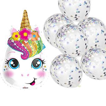 Licorne de ballon et 6 ballons avec confettis irisés