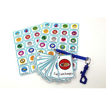 Kids2learn special needs communication aid set of 24 flash cards, 2 x emotions feelings poster & bun