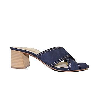 Paul Green 7599-02 Navy Velvet Leather Womens Slip On Mule Sandals