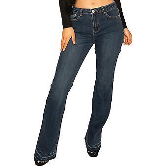 Raw Hem Bootcut Jeans - Azul Oscuro