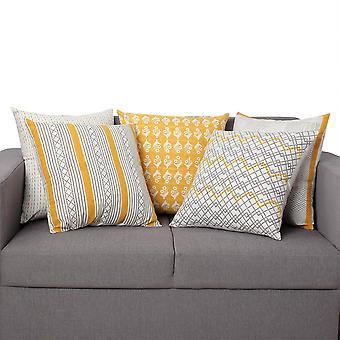 18 X 18 Main Bloc imprimé oreiller en coton avec des détails géométriques, ensemble de 5, multicolore