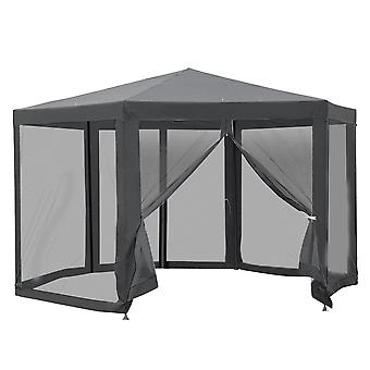 Outsunny Netting Gazebo Hexagon Tent Patio Canopy Outdoor Shelter Party Activities Shade Water Resistant (Grey)