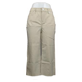 NYDJ Women's Jeans Wide Leg Capri Fray Hem Feather Beige A377704