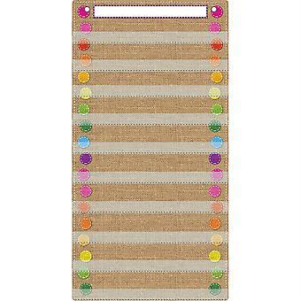 """Smart Poly Pocket Chart, 13"""" X 25"""", 10 Taschen & 2 Grommets, Sackleinen genäht"""