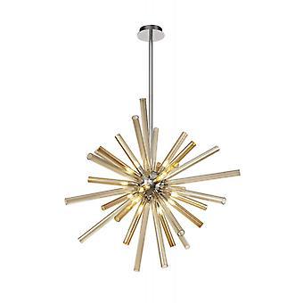 Lámpara Colgante De Diseño Delipsa 16 Bombillas Cromo Pulido 6 Cm