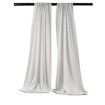 La Linen Pack-2 Polyester Poplin Backdrop Drape 96-Inch Wide By 58-Inch High, White