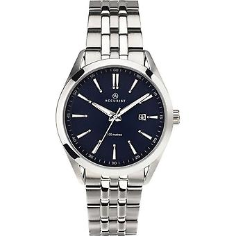 Accurist 7220 Classic Silver & Blue Stainless Steel Mens Ceas