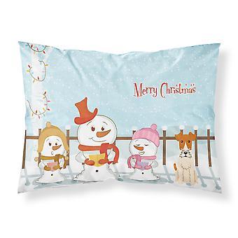 Caroline's Treasures Christmas Carolers Merry Wire Fox Terrier Tessuto Federa standard Bb2432Pillowcase