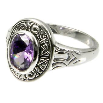 Aztec Design Bezel Set Amethyst Ring