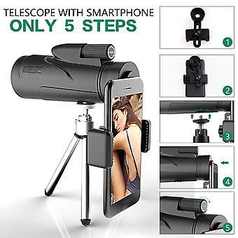 12X50 monokulært teleskop high definition monokulært med smartphone holder & stativ vandtæt starscope fmc bak4 prisme