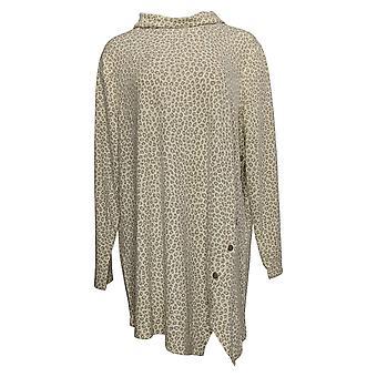 Denim & Co. Women's Top Plus Print Jersey Tunic Asymmetric Brown A396952