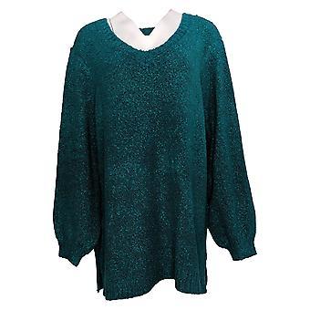 Nina Leonard Women's Sweater Plus Balloon Sleeves Teddy Tunic Blue 724900