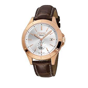 Ferre Milano Silver Dial Brown Leather Men's Watch FM1G080L0031