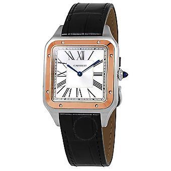 Cartier Santon-Dumont XL Hand Wind Silver Dial Herrklocka W2SA0017