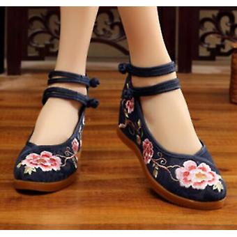 Women's Chinese Ethnic Embroidery High Heel Elevator Cheongsam Dancing Shoes Blossom