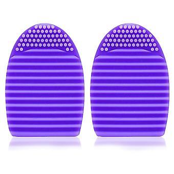 2x Envie Silicone Egg Sponge Scrubber Make-Up Brush Cleaner - Purple