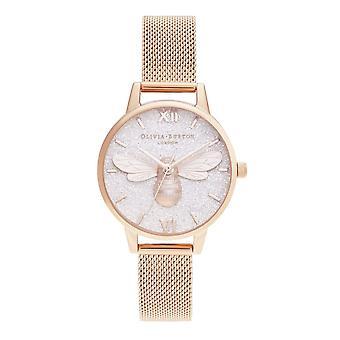Olivia Burton Ob16fb04 Glitter Dial Lucky Bee & Rose Gold Mesh Ladies Watch