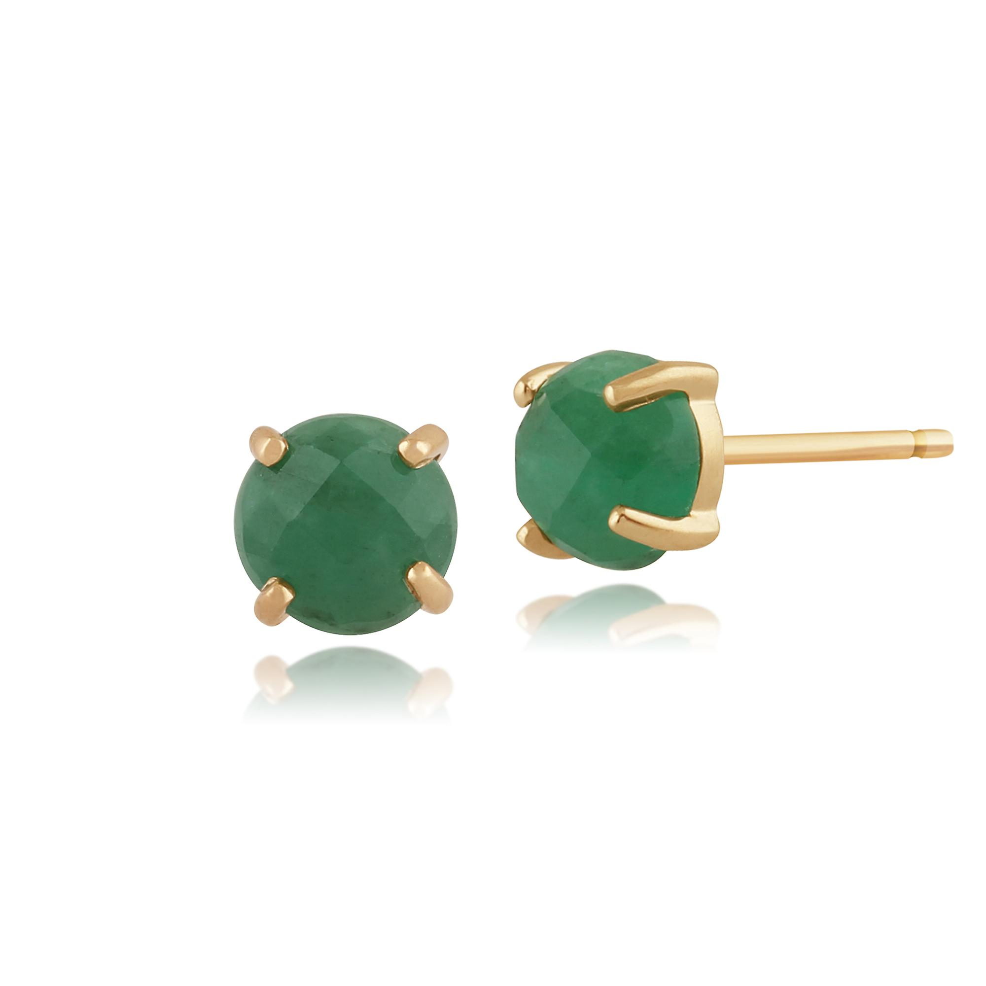 Amour Damier 9ct Yellow Gold 0.80ct Special Cut Emerald Stud Earrings